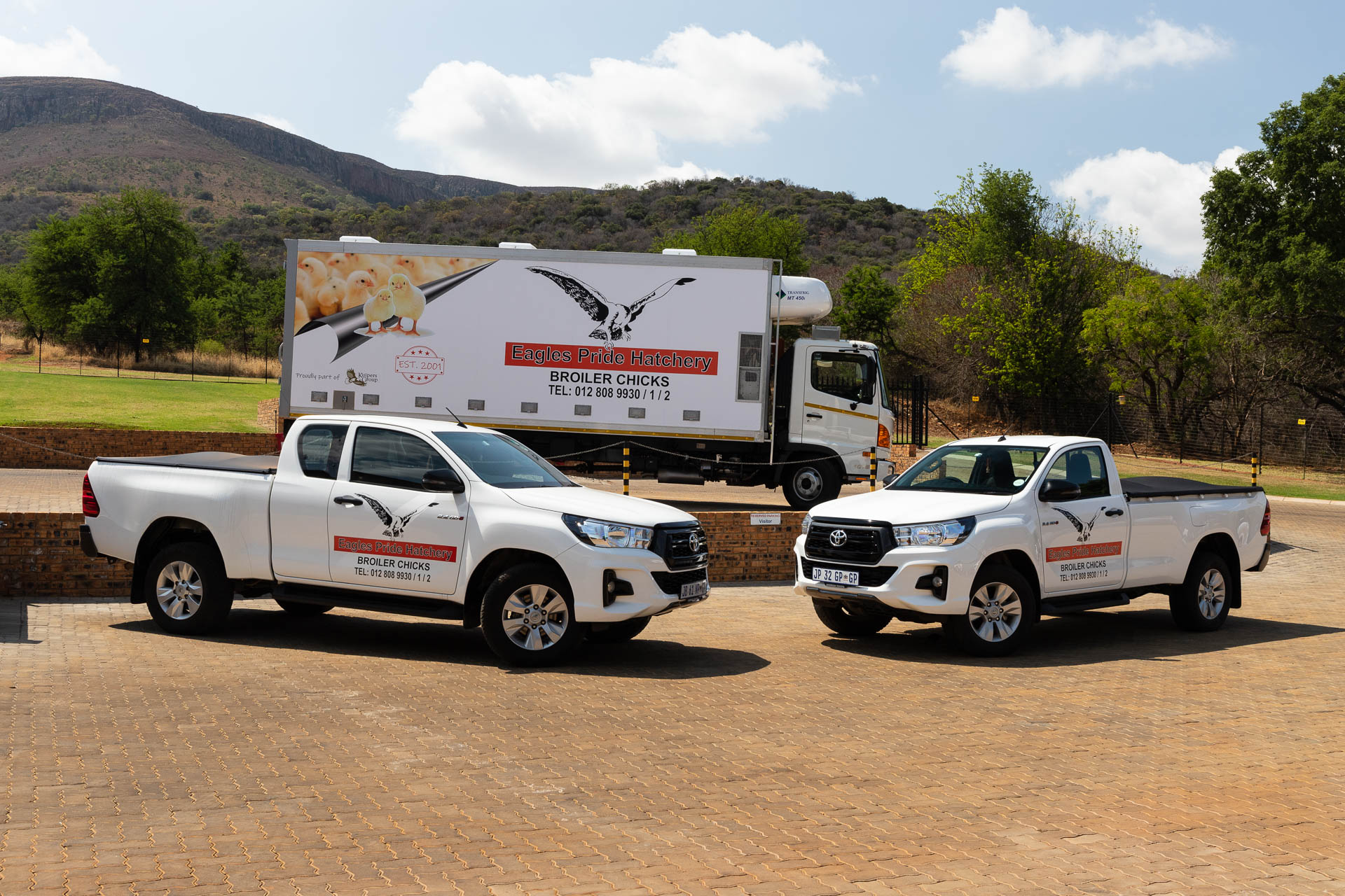Vehicles branded with the Eagles Pride Hatchery Logo